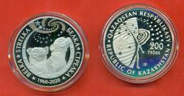 Kazakhstan 2020.Comm. Coin 200 Tenge.Belka And Strelka Are Dogs In Space. In Box.Proof. - Kazachstan