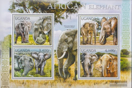 Uganda 2810-2813 Sheetlet (complete Issue) Unmounted Mint / Never Hinged 2012 Savannenelefant - Uganda (1962-...)