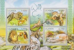 Uganda 2805-2808 Sheetlet (complete Issue) Unmounted Mint / Never Hinged 2012 Cats - Uganda (1962-...)