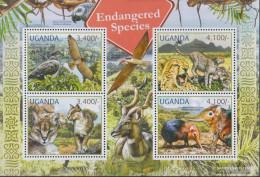 Uganda 2800-2803 Sheetlet (complete Issue) Unmounted Mint / Never Hinged 2012 Rare Animals - Uganda (1962-...)