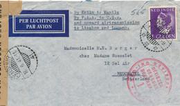 Nederlands Indië - 1941 - 1 Gulden Konijnenburg Censored Van Malang By Knilm Via Manila, PAA, Lisabon To Neuchatel - Niederländisch-Indien