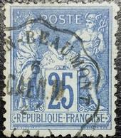 France N°79 Sage 25c. Bleu. Cachet Convoyeur Macon? à Beaumont - 1876-1898 Sage (Type II)