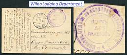 6281 Russia WWI LITHUANIA Lietuva Vilna QURTERMASTER Dept. Military SEAL 1914 Cancel Postcard To Odessa Pmk - Storia Postale