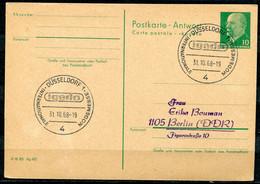 """DDR,GDR 1968 GS Ulbricht """"Mi.Nr.P74 A Mit Westdeutschen SST""""Düsseldorf-Igedo,Modemesse.""""1 GS Used - Cartas"""
