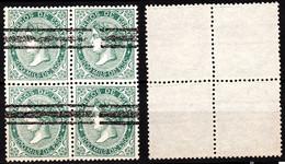 SPAIN 1868 Isabella II In Oval, Mi. 95, 200M In Block Of 4v, Used (barred) - Gebraucht