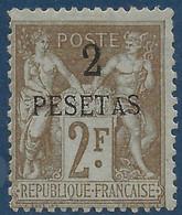 France Colonies Maroc N°8* 2 Pesetas Sur 2FR Tres Frais Signé Calves & Thiaude - Ungebraucht