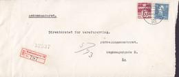 Denmark Drosselvej København F. Registered Einschreiben Label Brotype Vd KØBENHAVN 18. (*2), 1946 Cover Brief - Briefe U. Dokumente