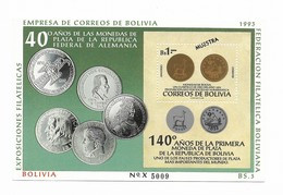 BOLIVIA 1993 FIRST SILVER COINS, SOUVENIR SHEET MI BL 205 OVPT MUESTRA SAMPLE MINT NH - Bolivia