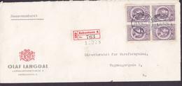 Denmark OLAF LANGDAL  Registered Einschreiben Label Brotype Vd KØBENHAVN K. (*22), 1946 Cover Brief 4-Block - Briefe U. Dokumente