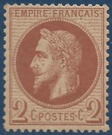 France Lauré N°26A** 2c Rouge Brun Clair Fraicheur Postale, Bien Centré Signé Calves - 1863-1870 Napoléon III Lauré