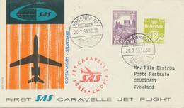 DENMARK 1959 First Flight SAS First Caravelle Jet Flight COPENHAGEN - STUTTGART - Aéreo