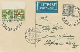 "DENMARK ""10. FILATELISTDAGS / UDST. / 6.9.38 / SLAGELSE"" Special Event Postmark U. K2 ""KOBENHAVN / LUFTPOST"" N. Berlin - Aéreo"