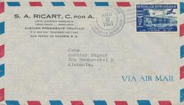 DOMINIKANISCHE REPUBLIK 1951 12 C (3x) Hotel Montana, La Vega M. Zusatzfrankatur - República Dominicana