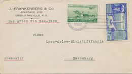 DOMINIKANISCHE REPUBLIK 1938 Int Flugpost-MiF Lupo-Bf CIUDAD TRUJILLO - NÜRNBERG - República Dominicana