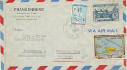 DOMINIKANISCHE REPUBLIK 1948, 10 C Landkarte M. Zusatzfrank. Selt. MiF NÜRNBERG - República Dominicana