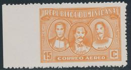 DOMINIKANISCHE REPUBLIK 1963 Patrioten Flugpostmarke 15 C Orange Postfr. ABART - República Dominicana