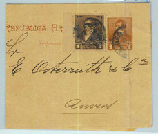 94021 - ARGENTINA - POSTAL HISTORY - STATIONERY  WRAPPER + Franking To BELGIUM - Ganzsachen