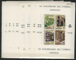 Bloc Feuillet N° 1 (x10) 10 BLOCS FEUILLETS NEUFS ** (MNH). Andorra 50 Aniversari Del Correu Espanyol. TB - Ungebraucht