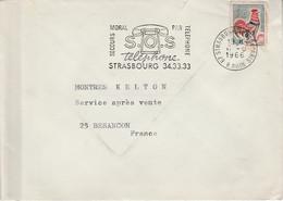 FLAMME SOS TELEPHONE STRASBOURG 1966 - Sellados Mecánicos (Publicitario)