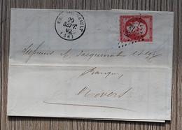 LETTRE Du 29 Septembre 1862 Avec Timbre Empire 80c - Rose - Non Dentelé Oblit. FOURCHAMBAULT Pour NEVERS - 1853-1860 Napoleon III