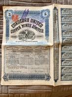 COROCORO  UNITED. COPPER  MINES , LIMITED -------- Titre  De  5  Actions D' Une £ - Mineral