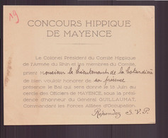 "Carton D'invitation "" Concours Hippique De Mayence "" - Non Classificati"