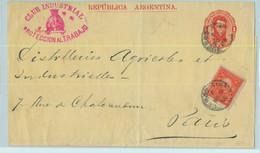 94028 - ARGENTINA - POSTAL HISTORY - STATIONERY WRAPPER + Franking To FRANCE 1886 - Ganzsachen