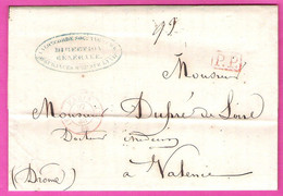 Pli De Paris Pour Valence Marque Port Payé PP Rouge + Paris 60 Quartier E Rouge Au Dos Taxe Manuscrite 8 Décimes 1848 - 1801-1848: Precursori XIX
