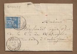 Saône Et Loire : DAMEREY : 1879 :  Cachet à Date  Type 19 Sur Sage 15c Bleu ( N°90 ) - 1877-1920: Periodo Semi Moderno