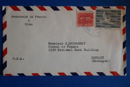 L9 CUBA  BELLE LETTRE 1960  AMBASSADE DE FRANCE  POUR DETROIT USA + AFFRANCH. INTERESSANT - Covers & Documents