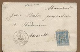 Saône Et Loire : VERIZET : 1886 :  Cachet à Date  Type 18 Sur Sage 15c Bleu ( N°90 ) - 1877-1920: Periodo Semi Moderno