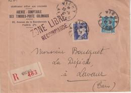 """FRANCE : TYPE PETAIN .TYPE MERCURE . AFFRANCHISSEMENT A 4,50 F . """" ZONE LIBRE RECOMMANDE """" . 1942 . - Guerra De 1939-45"""