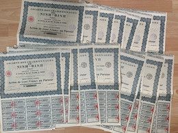 Asie / Tonkin / Indochine / Charbonnages De Ninh-Binh / 14 Actions De 100 Francs / Sept 1926 - Mineral