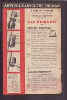 """Notice De Montage """" Antivol Cartouche Neiman """" Sur 4 CV Renault - Sin Clasificación"""