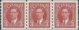 CANADA ,1937-38 Strip Of 3c,  Perf & Imperf, Scarlet REEL STAMP, Brand New - Nuevos