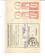 1983 EMA Affrancatura Meccanica Rossa Doppia Per Pacchi Milano L'Abeille Compagnia Italiana Assicurazioni Ape - Machine Stamps (ATM)