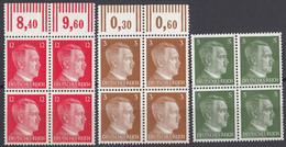 DEUTSCHES REICH - 1941/1943 - Lotto Di 3 Quartine Nuove MNH: Yvert 706, 708 E 710B - Nuevos