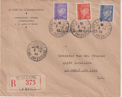 """FRANCE: AFFRANCHISSEMENT A 5,30 F . TYPE PETAIN . REC . """" ST NAZAIRE LA BAULE """" LETTRE A ENTETE ; 1944 . - Lettres & Documents"""