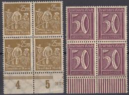 DEUTSCHES REICH - 1922 - Lotto Di 2 Quartine Nuove MNH: Yvert 163 E 166. - Neufs
