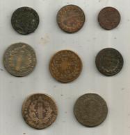 Monnaie , 2 Sols , Un Décime ,cinq Centimes ,liard De France , LOT DE 8 MONNAIES A ETUDIER,  Frais Fr 6.15 E - Kiloware - Münzen