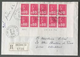 France N°1816 (Béquet) Bloc De 10, Coin Daté Sur Enveloppe Recommandée 9.9.1976 - (B3585) - 1921-1960: Periodo Moderno