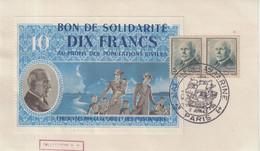 """FRANCE: PAIRE DU 5 F . TYPE PETAIN . AVEC BON DE SOLIDARITE DIX FRANCS . OBL . """" SALON DE LA MARINE """" . 1943 . - Lettres & Documents"""
