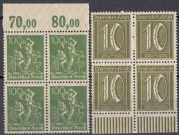 DEUTSCHES REICH - 1921/1922 - Lotto Di 2 Quartine Nuove MNH: Yvert 139 E 147. - Neufs