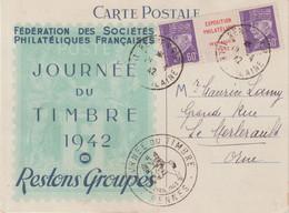 FRANCE : 60 C . TYPE PETAIN . EXPOSITION PHILATELIQUE DE RENNES . OBL . JOURNEE DU TIMBRE . 1942 . - Lettres & Documents