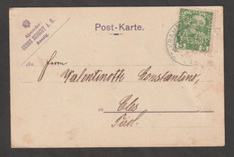 AUSTRIA:  1913  EFFIGIE  PERFIN  SU  CARTOLINA  COMMERCIALE  -  5 H. VERDE  -  YV/TELL. 104 - Cartas