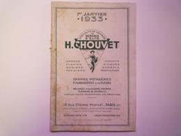 GP 2021 - 71  CATALOGUE 1933  H. CHOUVET  Graines Potagères  -  Fleurs  -  Arbustes...   XXX - Sin Clasificación