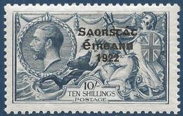 Irlande état Provisoire N°39* 10sh Bleu Surcharge 5mm Tres Frais TTB - Unused Stamps