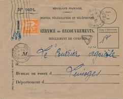 PAIX N° 256 1f Comme TAXE SEUL Sur Lettre SERVICE DES RECOUVREMENTS Limoges Haute Vienne 15/7/37 - 1932-39 Peace