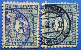YUGOSLAVIA KINGDOM SHS PORTO 2 X 2 Din. 1926 VALUE IN CIRCLE  Mic: 57 Perf. 9 (DIFFERENT COLOURS) - USED - Gebraucht