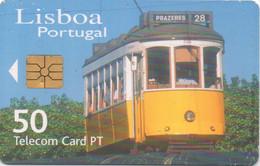 Telecom Card PT Portugal : Tramway à Lisbonne (mauvais état) - Trenes